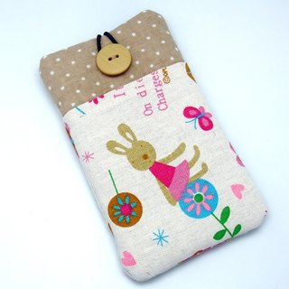 iPhone sleeve, Samsung Galaxy S8, Galaxy Note 8 pouch cover 自家制手提电话包, 手机布袋,布套 ,(可量身订制) - 小兔 (P-33)