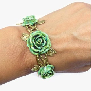 Climber roses bangle in brass and Patina color,Rocker jewelry ,Skull jewelry,Biker jewelry