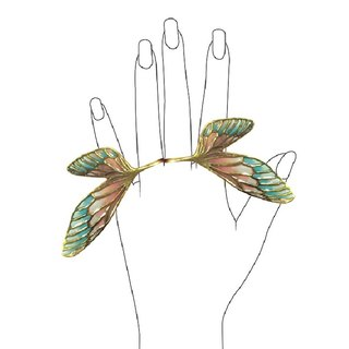 Double Fairy wing ring in brass  with stand glass enamel pastel color