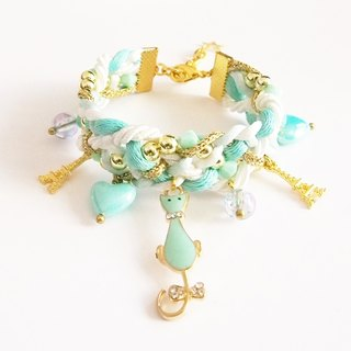 Mint kitty braided bracelet