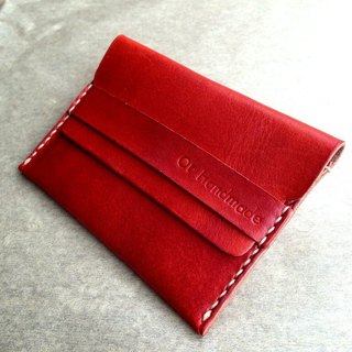 手缝皮革名片夹(橘)Leather Business Card Holder