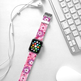 Apple Watch Series 1 , Series 2, Series 3 - Apple Watch 真皮手表带,适用于Apple Watch 及 Apple Watch Sport - Freshion 香港原创设计师品牌 - 粉红色牵牛花花纹
