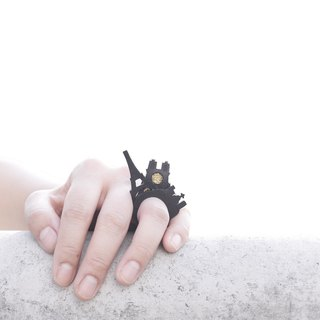 SUE BI DO WA - 手工制作皮革并合手织戒指-Paris 100% handmade leather mix with yarn Ring(Paris)