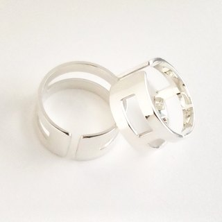 [Order production] ring / 950 silver square design <Unisex>