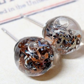 """爱家作- OMYWAY""DIY 水  玻璃球 耳针 耳环 耳勾 垂挂 耳夹 Dried Flower - Glass Globe- Earrings- Drop Earrings - Drop Clip on Earrings - Clip Earrings"