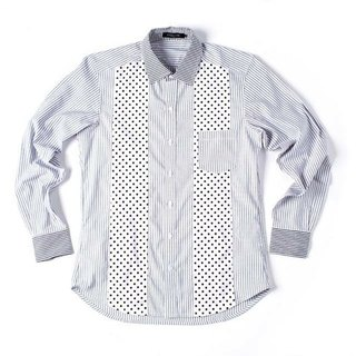 Stone'As Dot Pattern & Straight Shirt / 条纹 点点 拼接 衬衫