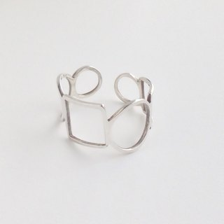 "[Order production] ring / 950 Silver Square & Circle design ""flexible"" <unisex> No. 21-29"