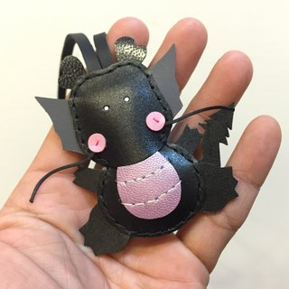 {Leatherprince 手工皮革} 台湾MIT 黑色 可爱 小龙 纯手工缝制 皮革 吊饰 / Puff the Dragon leather charm in black(Small size / 小尺寸 )