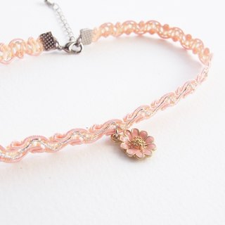 Peach lace choker / necklace with flower charm.