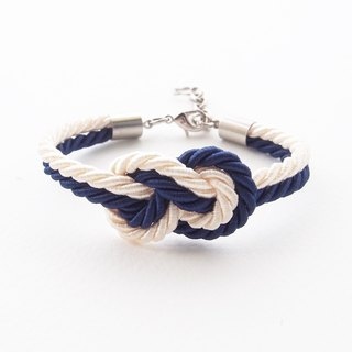 Navy blue and Ivory cream infinity knot nautical bracelet.