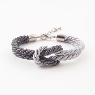 Dark gray / light gray knot rope bracelet.