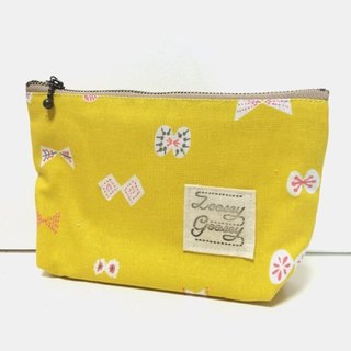 Butterfly ribbon pouch Cotton linen mustard yellow
