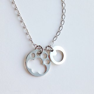 [Order production] necklace (3-way) / Silver 950 paws & cat design charm: with adjuster Chain