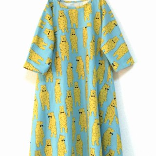 Nordic Animal: Bear's Flare One-piece: five-quarter sleeve / saxophone blue
