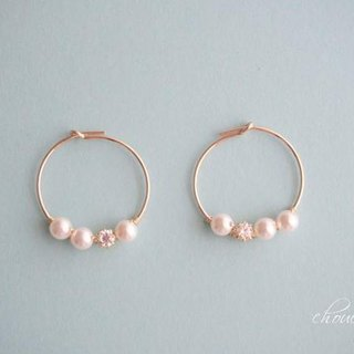 [14kgf] Swarovski Pearl Hoop Earrings