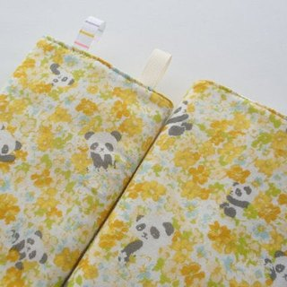 DROOL PADS, Ergo, Tula, Lillebaby, Yellow Flower Panda Bear, Japanese Cotton