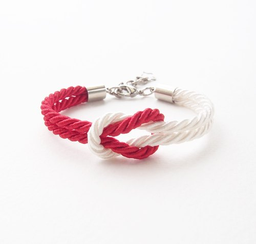 Red and white marine bracelet - tie the knot bracelet.