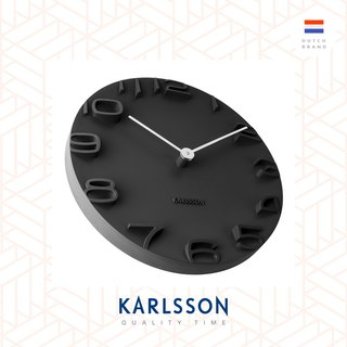 荷兰Karlsson Wall clock On The Edge black w. chrome hands 荷兰Karlsson OTE 挂钟