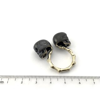 Zodiac Twins skull ring is for Gemini in white bronze and oxidized antique color ,Rocker jewelry ,Skull jewelry,Biker jewelry