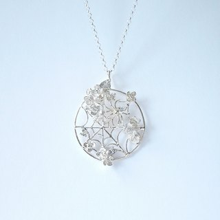 Spider and hydrangea necklace