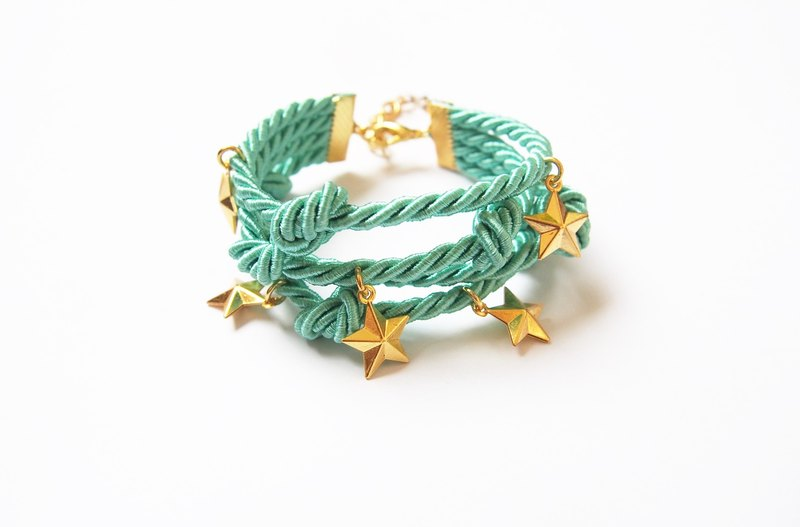 Green mint handmade rope bracelet with gold star charm