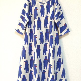Nordic Animal: Bear flare dress: half sleeve / unbleached