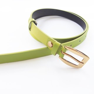 Lime green genuine leather woman belt with gold buckle, cut to size, green leather belt, green belt, leather belt.