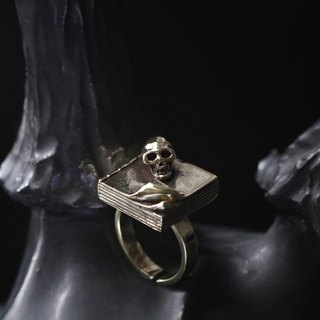 Skull on A Book Ring by Defy / Original Design Jewelry / Adjustable Statement Brass Rings