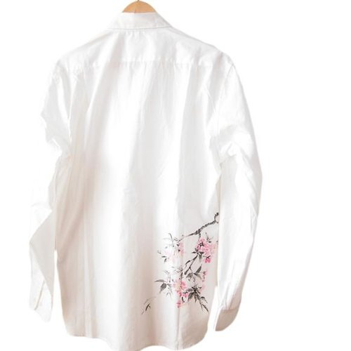 <Mサイズ> The Nagoya dyed oversize shirt by Japanese traditional craft artisans Yuzen stencil dyeing cherry by Tsumugirabo