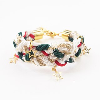 Christmas collection: braided bracelet with star charms.