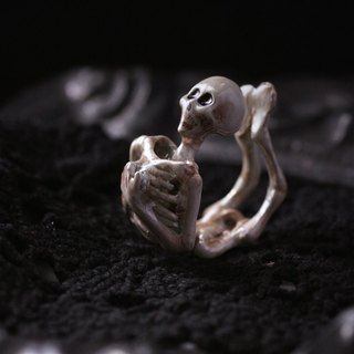 Human Skeleton Ring - Handcrafted Painted Version by Defy / Statement Ring Jewelry