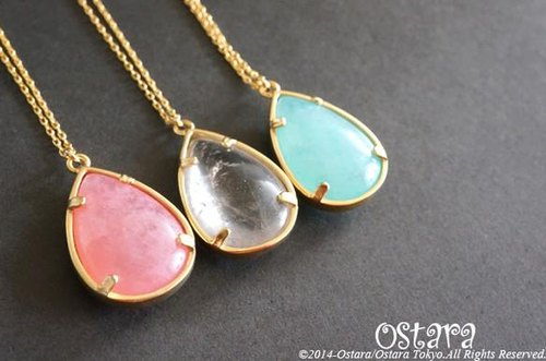 【14KGF】Long Necklace,16KGP Mat Gold Teardrop Glass