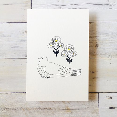 Field of small birds ● ● mimeograph postcards -Hpc7