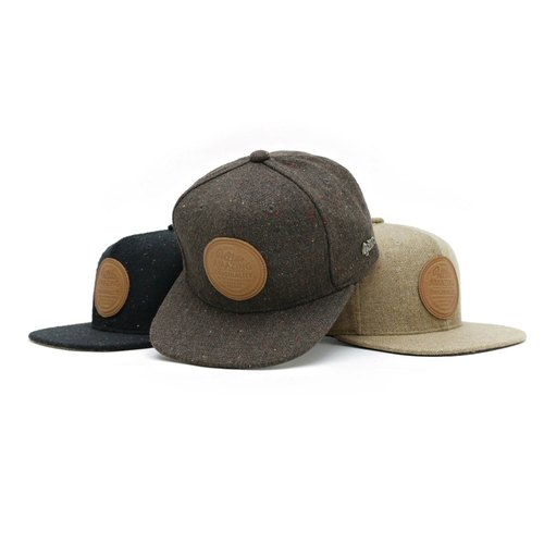 Filter017 混纺毛料皮牌棒球帽 - LOGO BLENDED LEATHER LABEL SNAPBACK CAP - W57