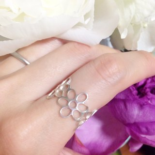 Ring: Silver 950 flowers & leafs design such as lace pattern / US size 5-10