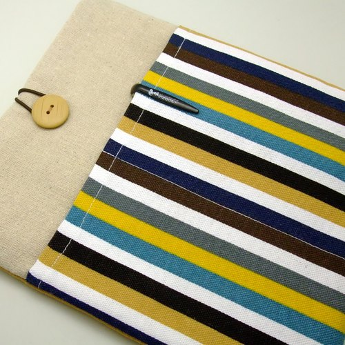 iPad Air sleeve, iPad Case iPad Cover, Samsung galaxy tab 3 10.1 with 2 pockets 自家制平板电脑袋,布套 ,笔布包 (可量身订制) - 彩色条子(a) (205)