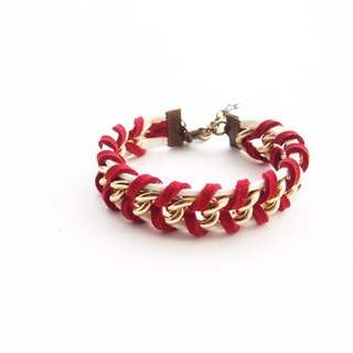 Suede cord bracelet - red bracelet - chain bracelet - faux leather cord bracelet - girl bracelet - friendship bracelet.