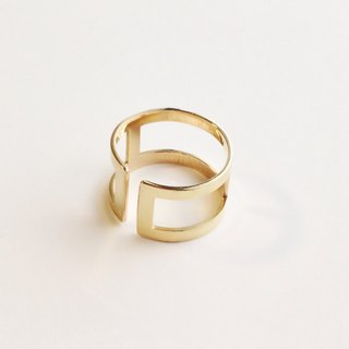 [Order production] ring / gold color square design <unisex> ※ 7-20 No.