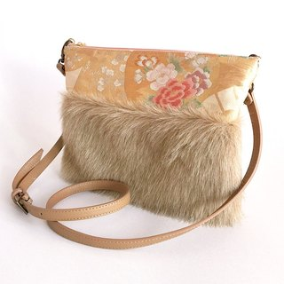 Clutch shoulder bag with fake fur and Japanese Traditional pattern, Kimono [Obi] (2WAY)