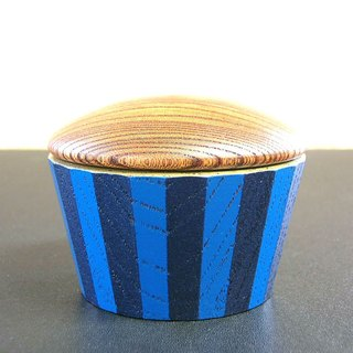 (gift) Small lid 24 corner / blue navy blue stripe