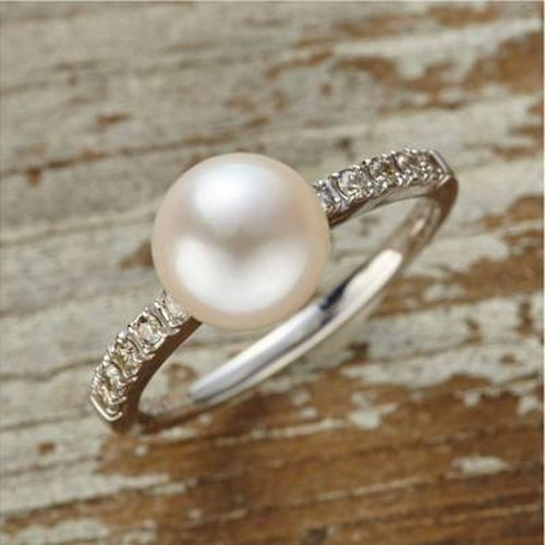 [Ring] K10WG + Diamond + freshwater pearl of Petit jewelry ring / FirstR02