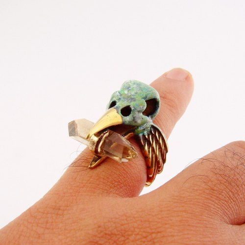 Patina crow skull ring with smoky quartz stone and oxidized antique color