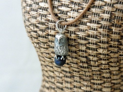 Owl pendant Lapis lazuli with Leather cord necklace.
