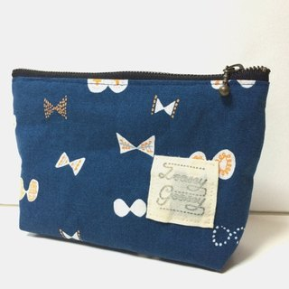 Butterfly Ribbon Pouch Cotton Linen Navy