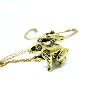 Wind up Bunny pendant in brass ,Rocker jewelry ,Skull jewelry,Biker jewelry