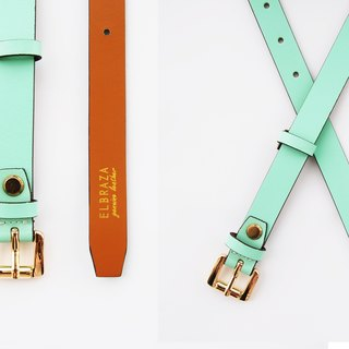 Mint genuine leather woman belt with gold squre buckle, cut to size, mint leather belt, green mint belt, leather belt, woman leather belt.