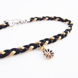 Black / gold soft satin rope choker with black flower.