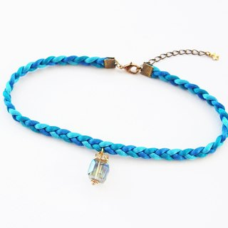 Blue ocean braided choker / necklace with charm.