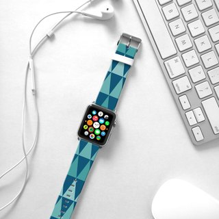 Apple Watch Series 1 , Series 2, Series 3 - Apple Watch 真皮手表带,适用于Apple Watch 及 Apple Watch Sport - Freshion 香港原创设计师品牌 - 湖水蓝几何图案