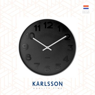 Karlsson 37.5cm wall clock Mr.Black numbers steel case